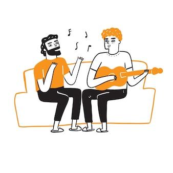 Melhores amigos estão cantando e tocando violão