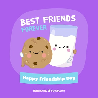 Melhores amigos para o fundo com leite e biscoitos