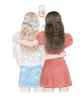 Melhores amigos para sempre. duas garotas se divertindo, fazendo selfie. ilustração desenhada mão, vetor rastreado.