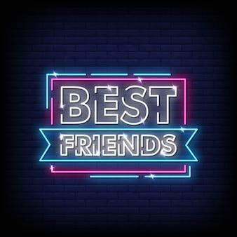Melhores amigos sinais néon estilo texto vector