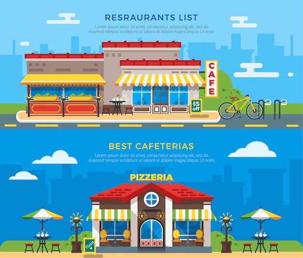 Melhores cafeterias e restaurantes lista banners planas