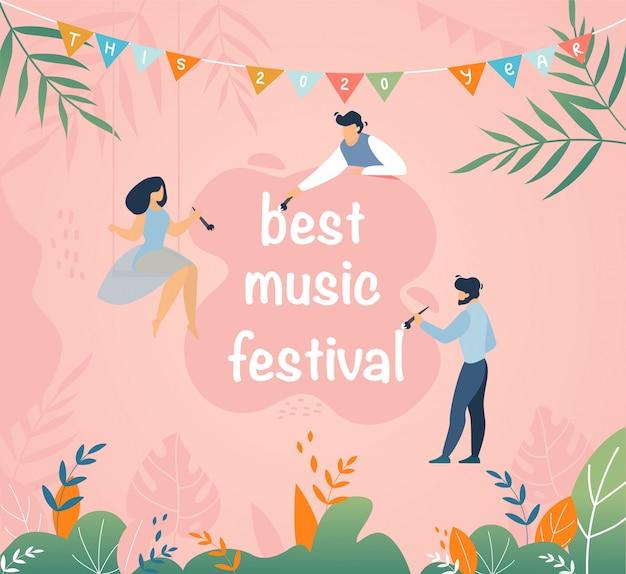 Melhores desenhos animados do convite do festival de música