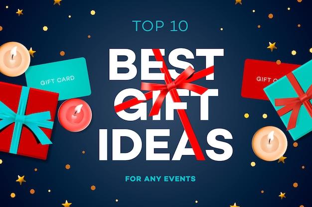 Melhores ideias para presentes, cartaz de venda de desconto, conceito original, ilustração.