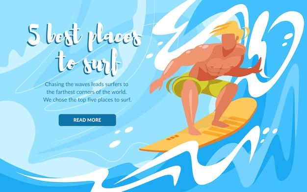Melhores lugares para navegar o modelo de banner horizontal com o jovem andando de prancha de surf por ondas do oceano