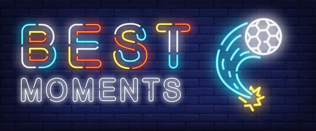 Melhores momentos neon text com bola de futebol voadora