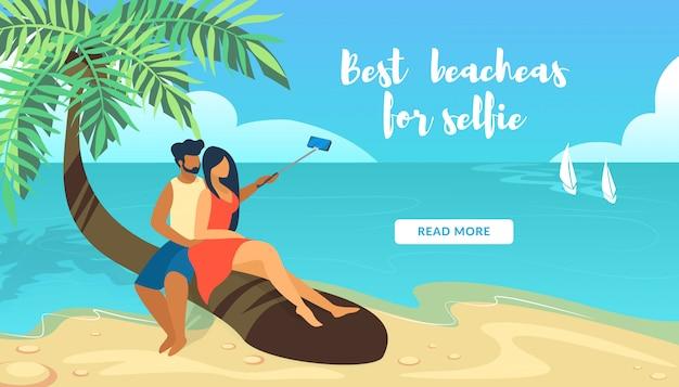 Melhores praias para selfie banner horizontal com casal apaixonado sentado na palmeira fazendo foto selfie
