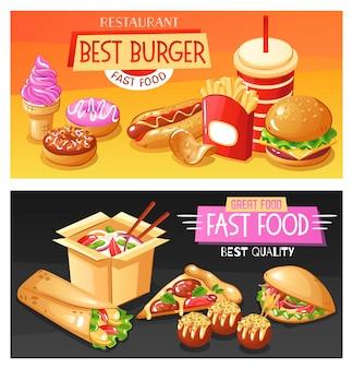 Melhores pratos e bebidas de fast-food ilustração horizontal