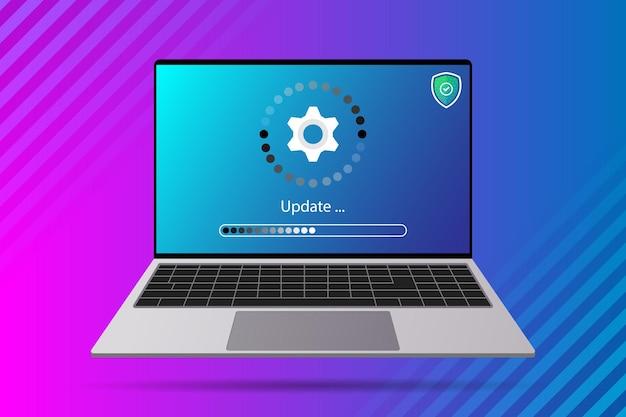 Melhoria da atualização do sistema alterar a nova versão do software. instalando processo de atualização, programa de atualização, instalação de rede de dados
