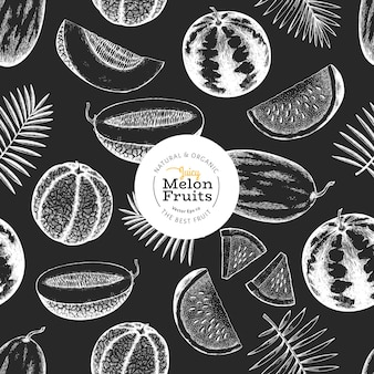 Melões e melancias com folhas tropicais padrão sem emenda.