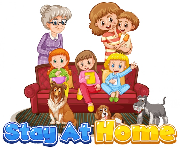 Membro da família com sinal de ficar em casa