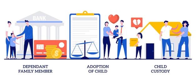 Membro da família dependente, adoção de criança, guarda da criança. conjunto de legislação familiar, pensão alimentícia