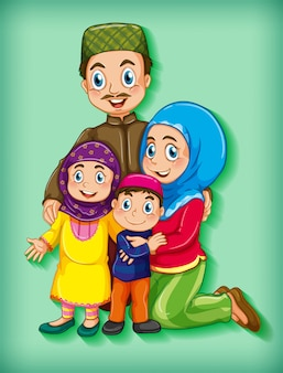 Membro da família em fundo gradiente de cor de personagem de desenho animado