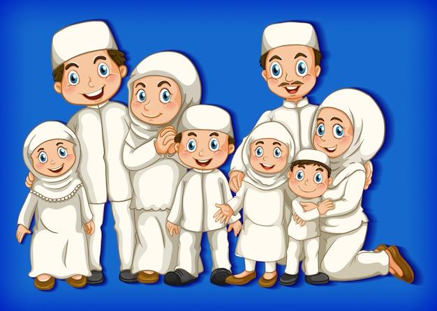Membro da família muçulmana em fundo gradiente de cor de personagem de desenho animado