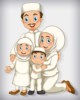 Membro da família muçulmana em gradiente de cor de personagem de desenho animado