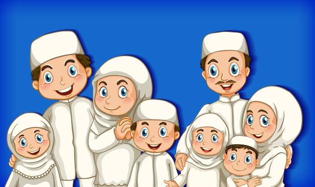 Membro da família muçulmana em personagem de desenho animado