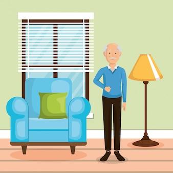 Membro da família na sala de estar