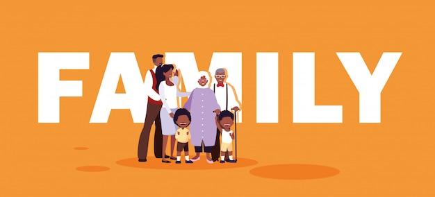 Membros afro da família bonito
