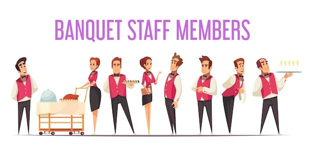 Membros da equipe de banquetes de uniforme com comida no equipamento profissional em desenho animado de fundo branco