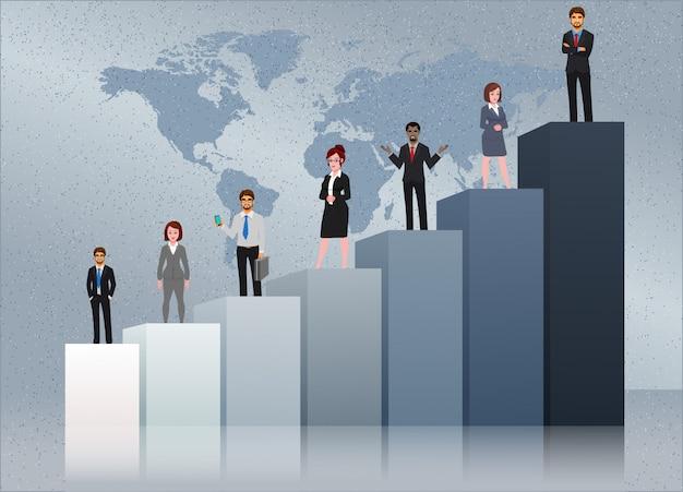 Membros da equipe de negócios bem sucedidos com gráfico