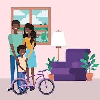 Membros da família afro bonitos nos personagens da sala de visitas