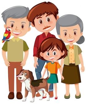 Membros da família com avós e criança