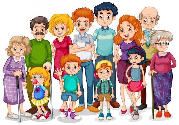 Membros da família com filhos e todos os parentes