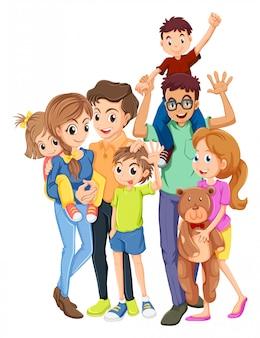 Membros da família com pai e mãe