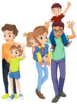 Membros da família com rostos felizes