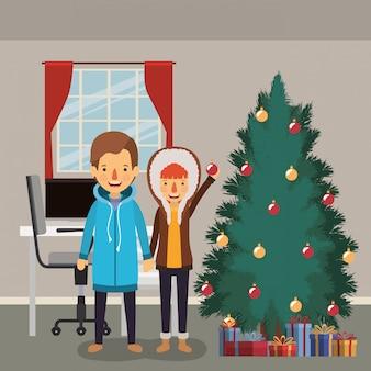 Membros da família comemorando o natal com pinheiro em casa