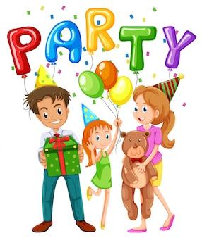 Membros da família e balões na festa