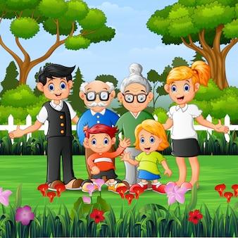 Membros da família felizes são férias no parque