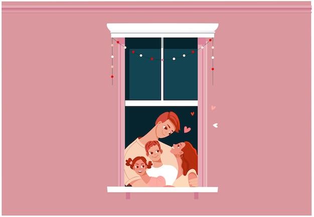 Membros da família juntos em casa ficar em casa ou conceito de bloqueio mãe, pai e filhos bonitos personagens de desenhos animados no caixilho da janela irmão e irmã ilustração plana Vetor Premium
