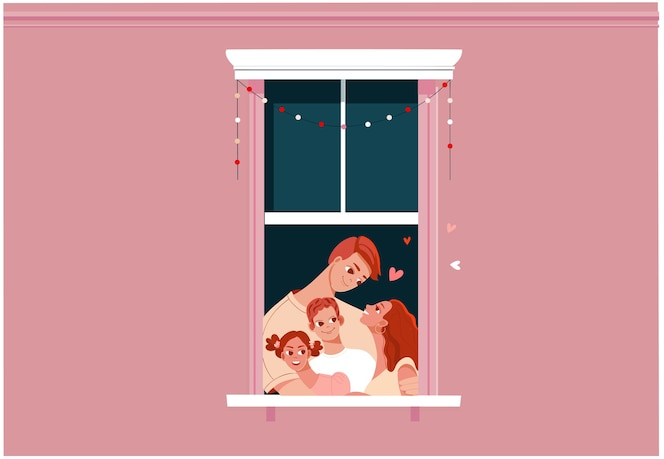 membros da família juntos em casa ficar em casa ou conceito de bloqueio mãe, pai e filhos bonitos personagens de desenhos animados no caixilho da janela irmão e irmã ilustração plana