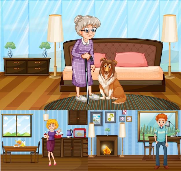 Membros da família na casa