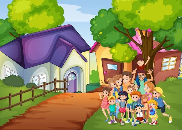 Membros da família na frente da casa