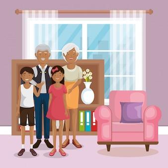Membros da família na sala de estar