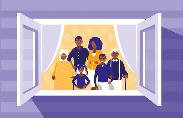 Membros da família negros na janela