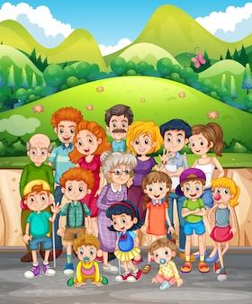 Membros da família no parque