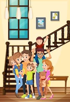Membros da família que moram na casa