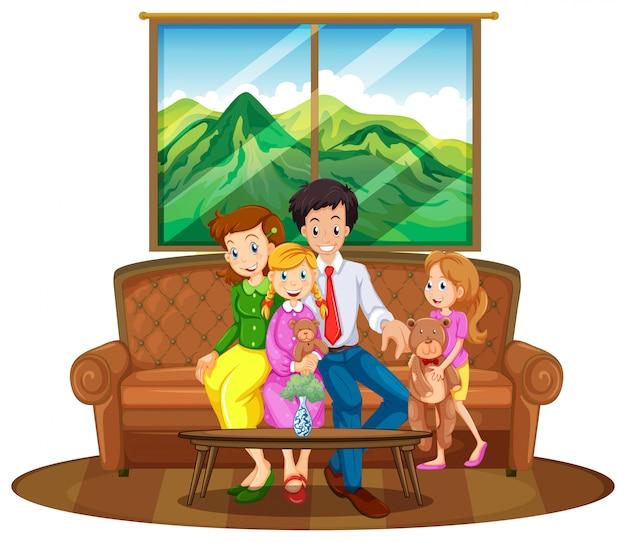 Membros da família sentados na sala de estar