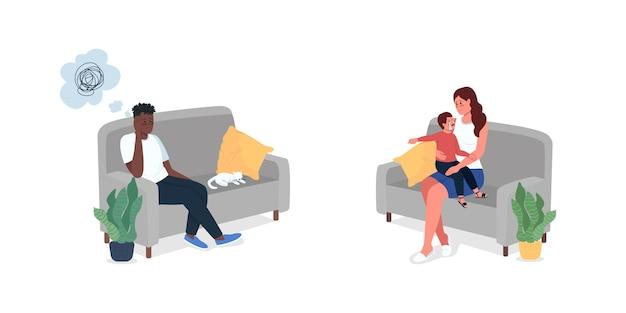 Membros da família sentados no sofá com conjunto de caracteres de cores planas