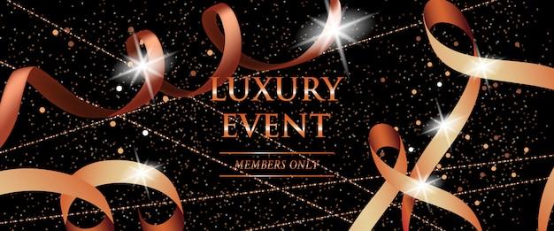 Membros de evento de luxo apenas banner festivo com fitas enroladas
