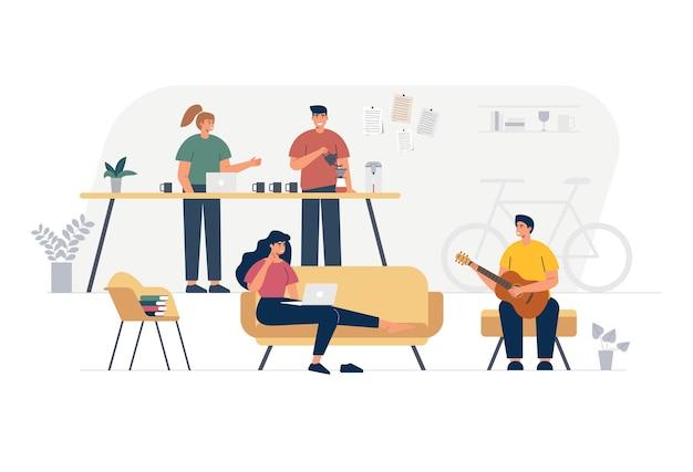 Membros de negócios da empresa. ilustração desenhada mão plana da banda de música.