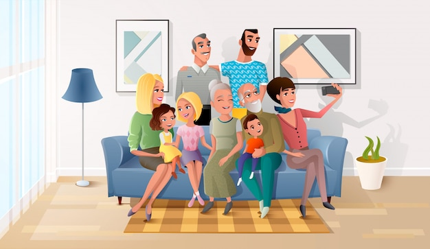 Membros felizes da grande família reunidos