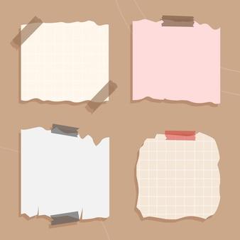 Memo adesivo, folha de papel e tiras de papel de caderno, pedaços presos com fita adesiva