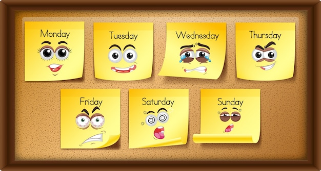 Memo notas com dias da semana e expressões