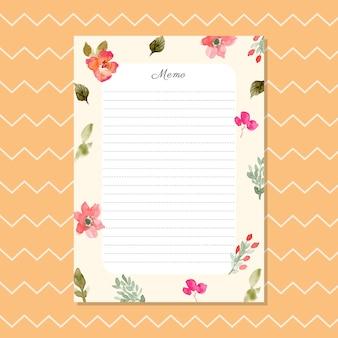 Memorando em branco com fundo floral aquarela
