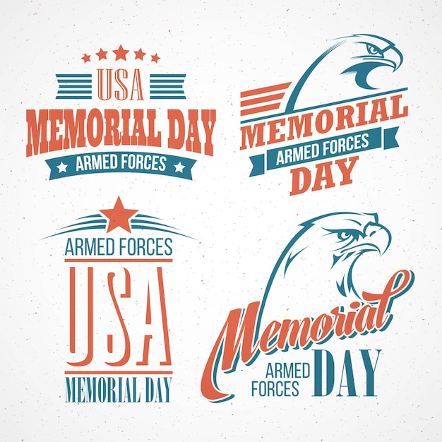 Memorial day com a bandeira americana e a águia.