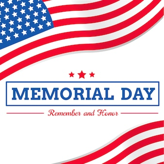 Memorial day com a bandeira do eua em fundo branco