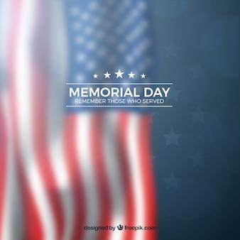 Memorial day com bandeira americana turva